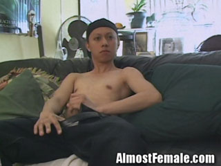 Transsexual Masturbates with Dildo
