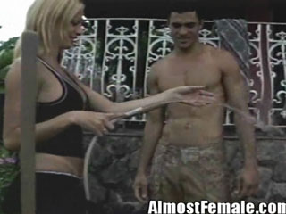 Tranny Getting Fucked On the Front Porch